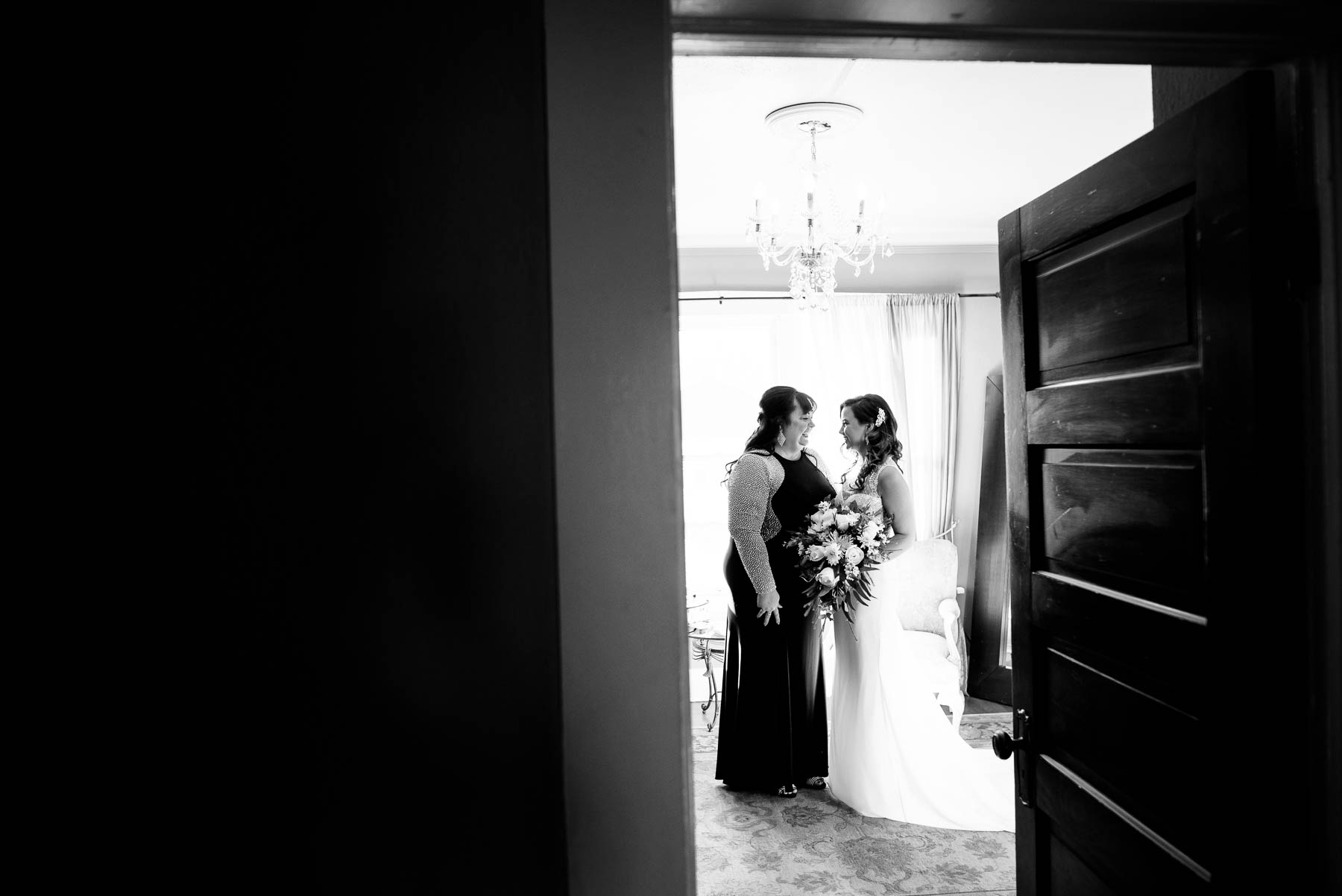 Bride and her mom on the wedding day at the Manor House in Littleton, Colorado.