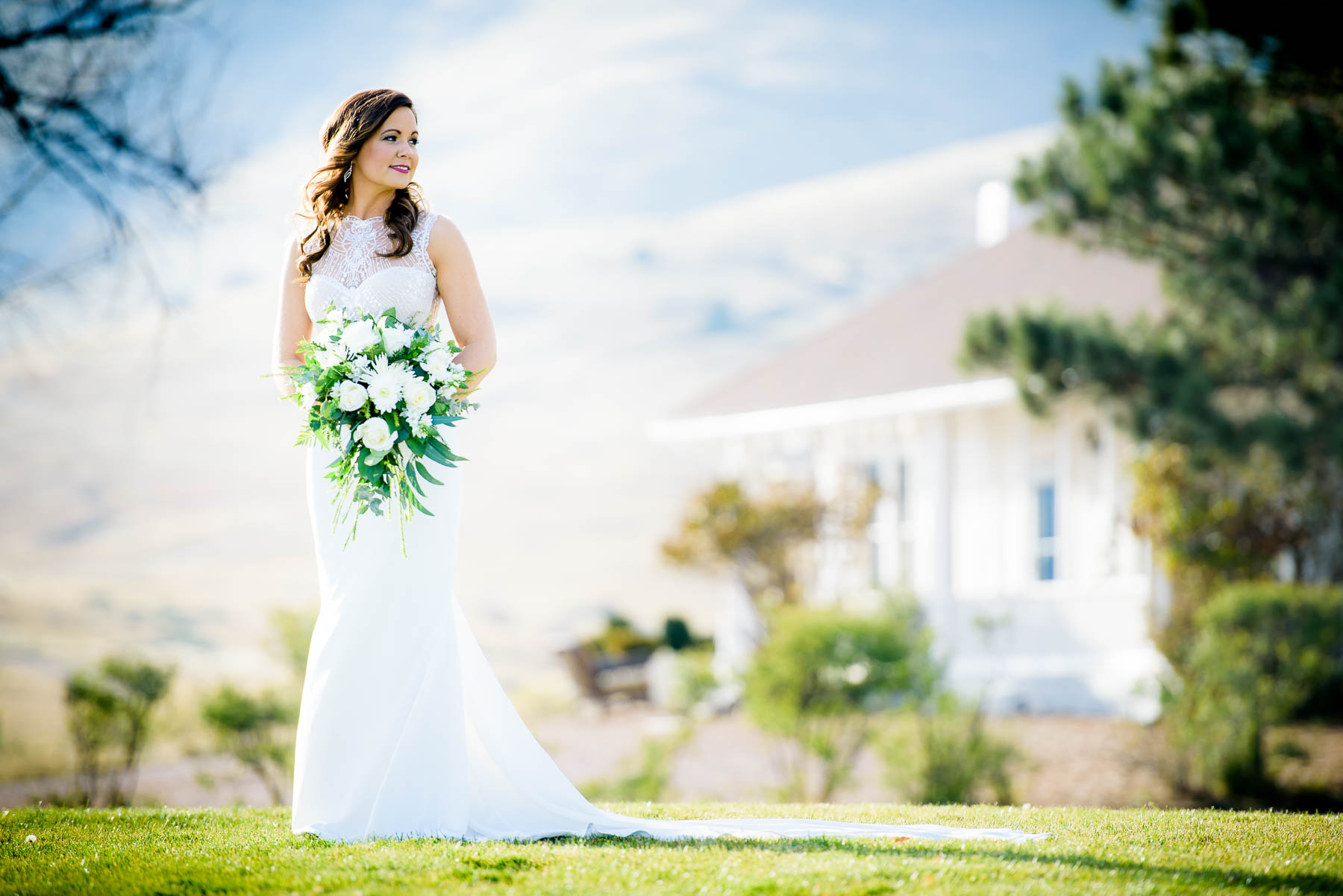 Bridal portrait on her wedding day at the Manor House in Littleton, Colorado.