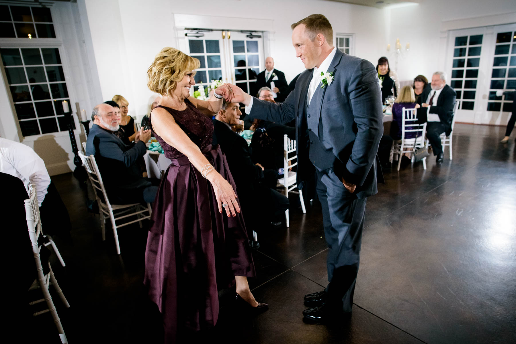 Mother-son dance during a wedding at the Manor House in Littleton, Colorado.