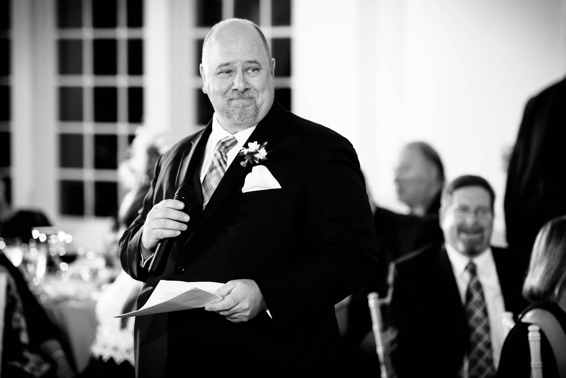 Father of the bride speech during a wedding at the Manor House in Littleton, Colorado.