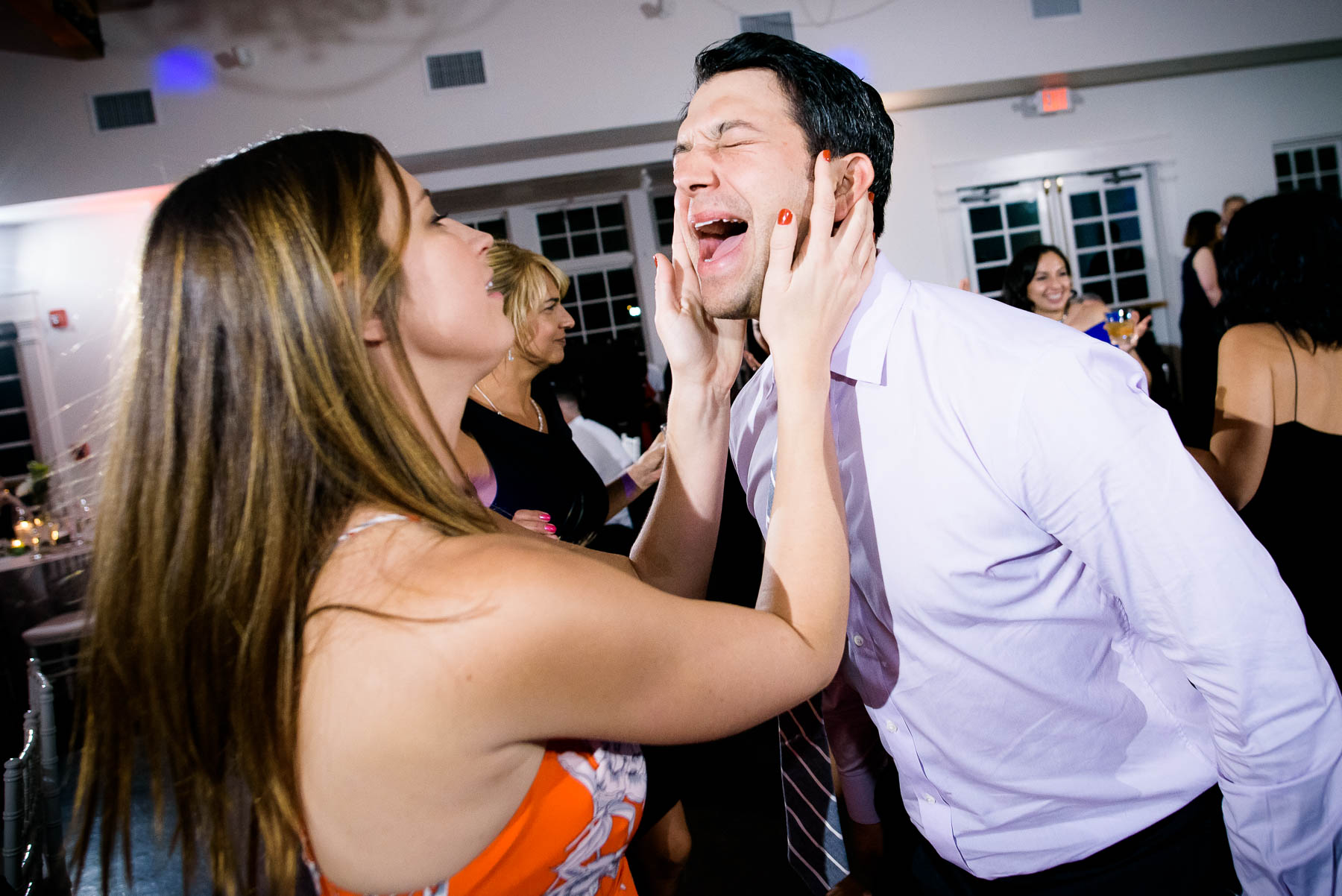 Funny dance floor moments during a wedding at the Manor House in Littleton, Colorado.