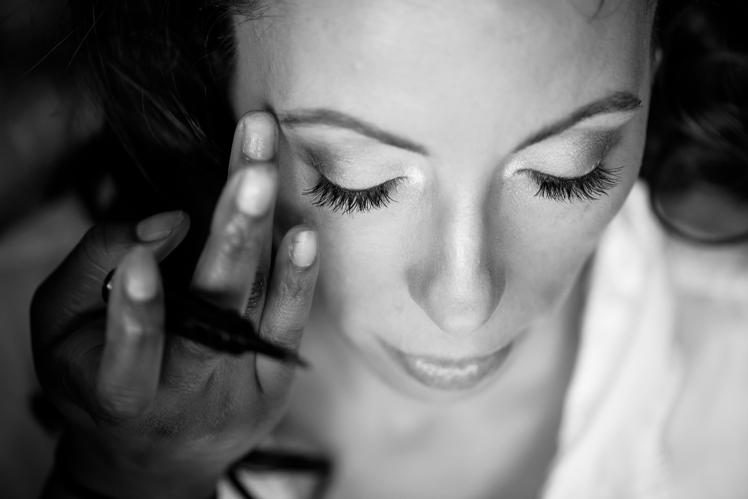 Bride getting ready before her Thompson Chicago wedding.
