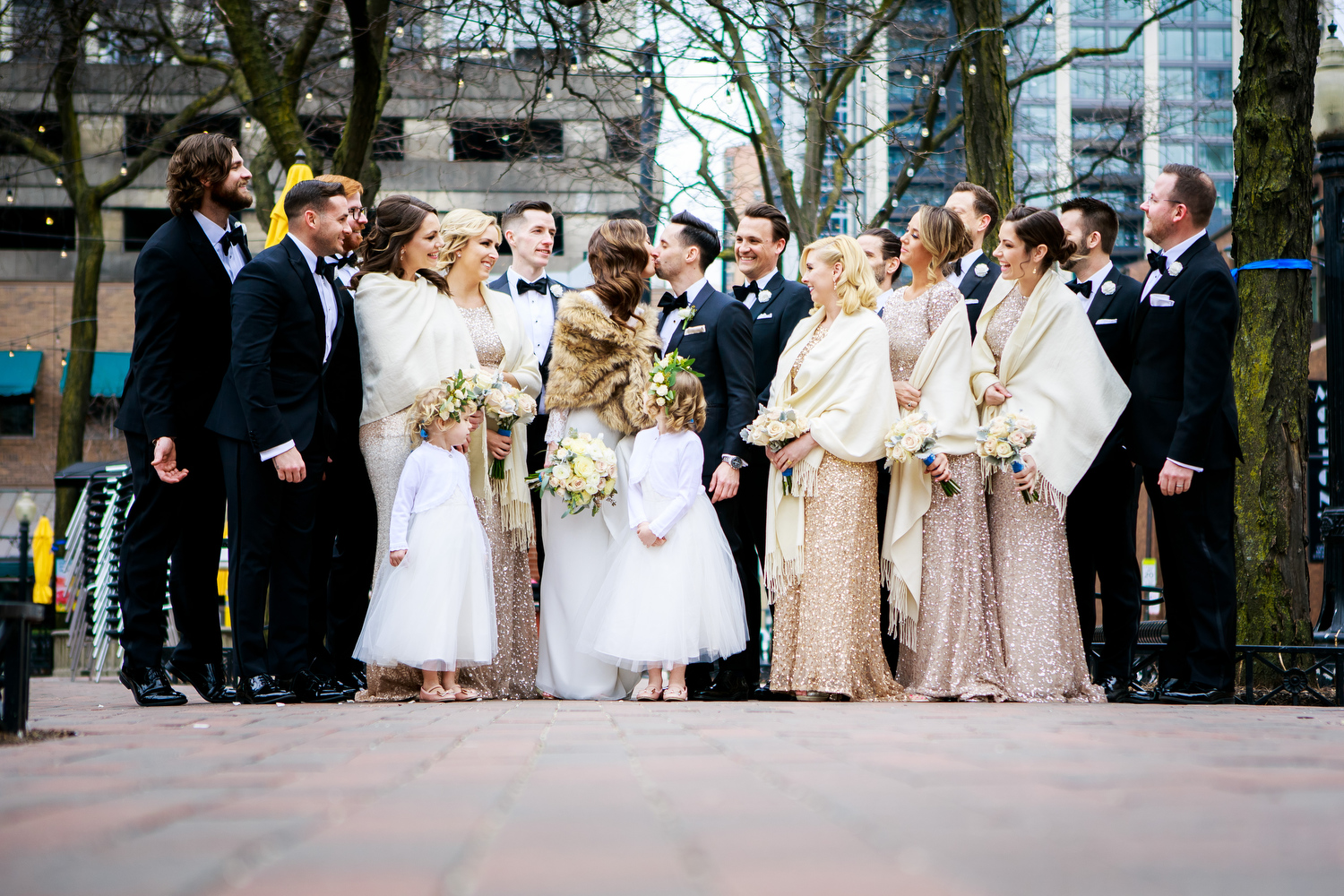 Wedding party photo at Mariano Park before a Thompson Chicago wedding.