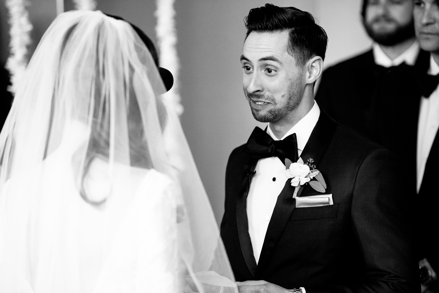 Groom gets emotional during his Thompson Chicago wedding.