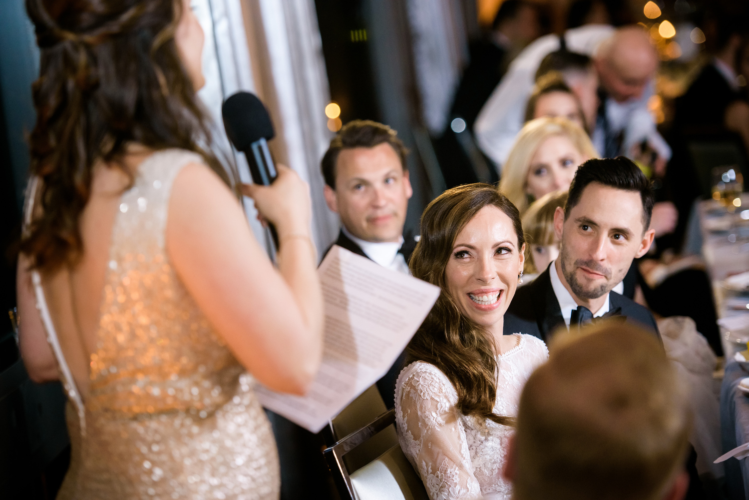 Maid of honor toast during a Thompson Chicago wedding reception.