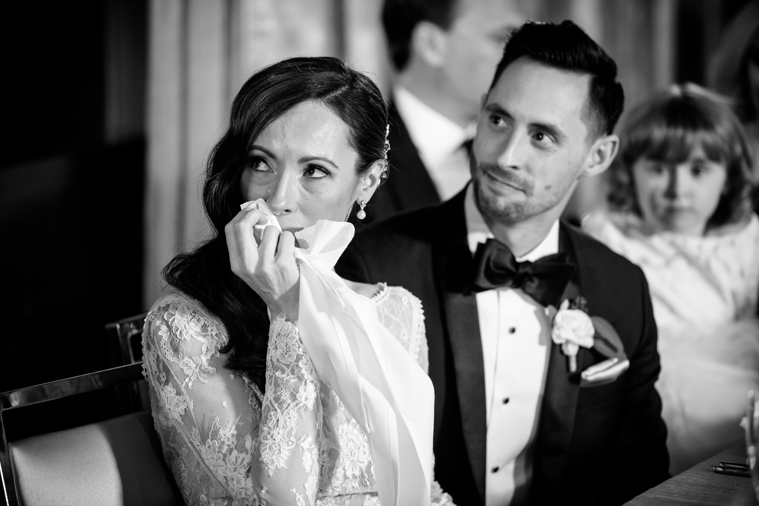 Bride becomes emotional during her maid of honor toast at the Thompson Chicago.
