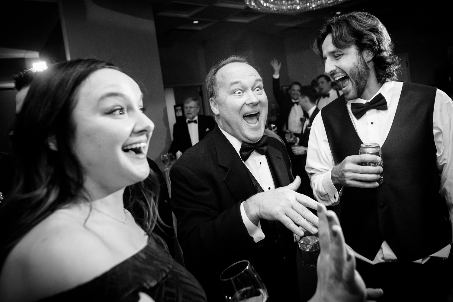 Funny wedding reception dance photo at the Thompson Chicago.
