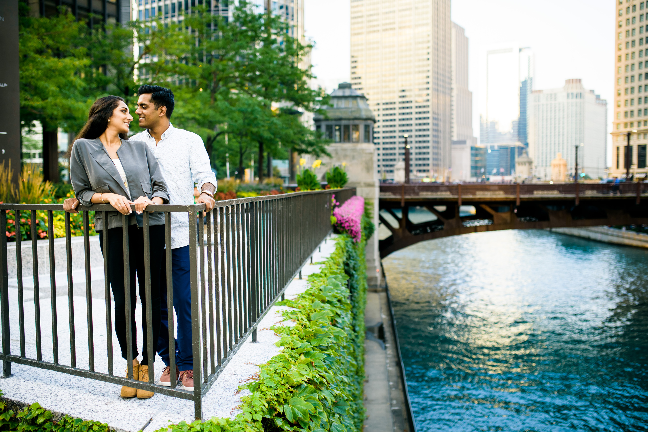 Chicago engagement session on the Chicago River outside The Langham.