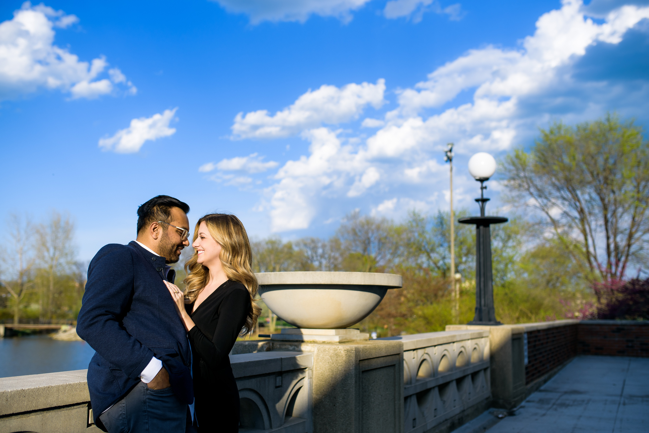 Humboldt Park Chicago engagement session at the boathouse.