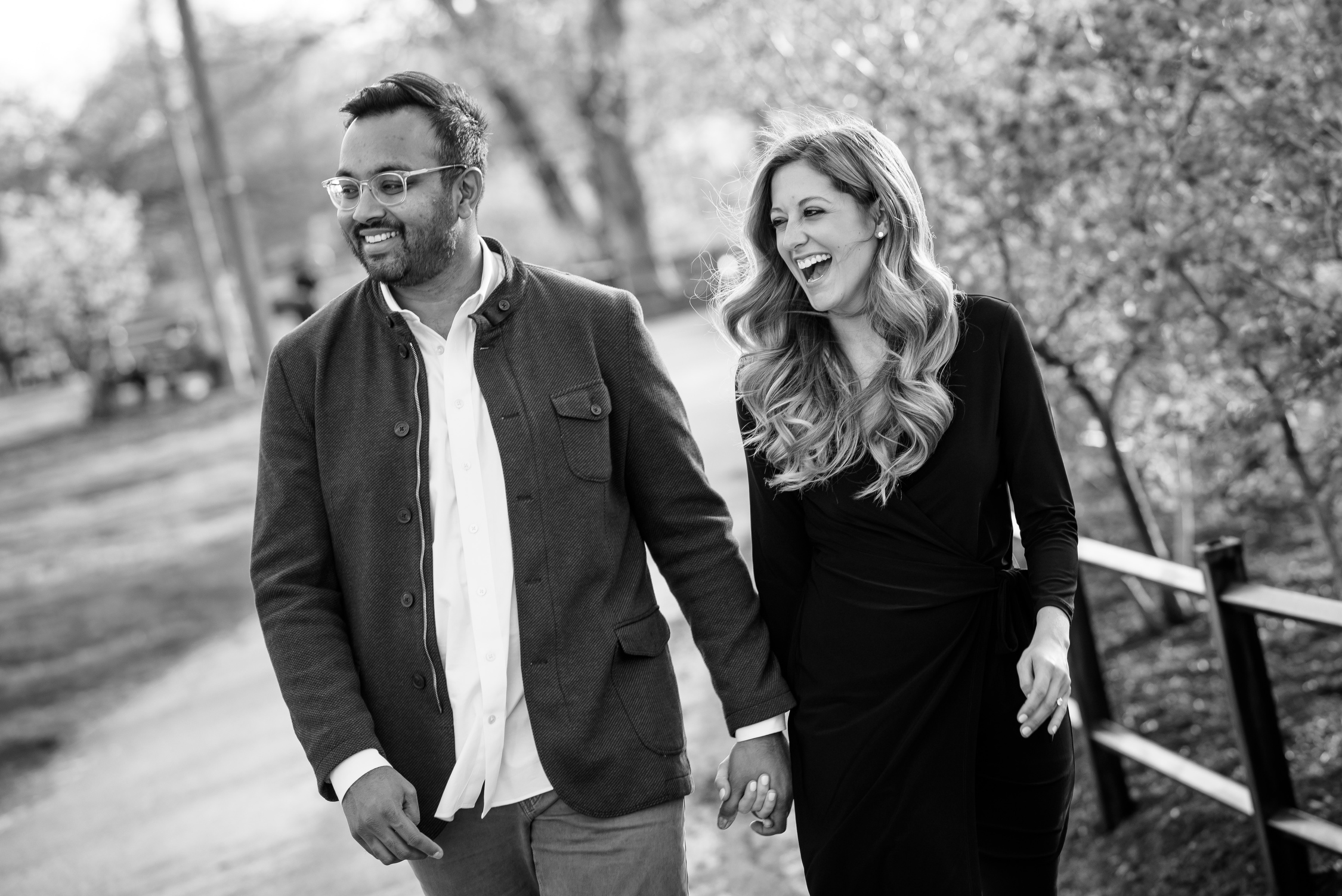 Fun candid moment during a Humboldt Park Chicago engagement session.