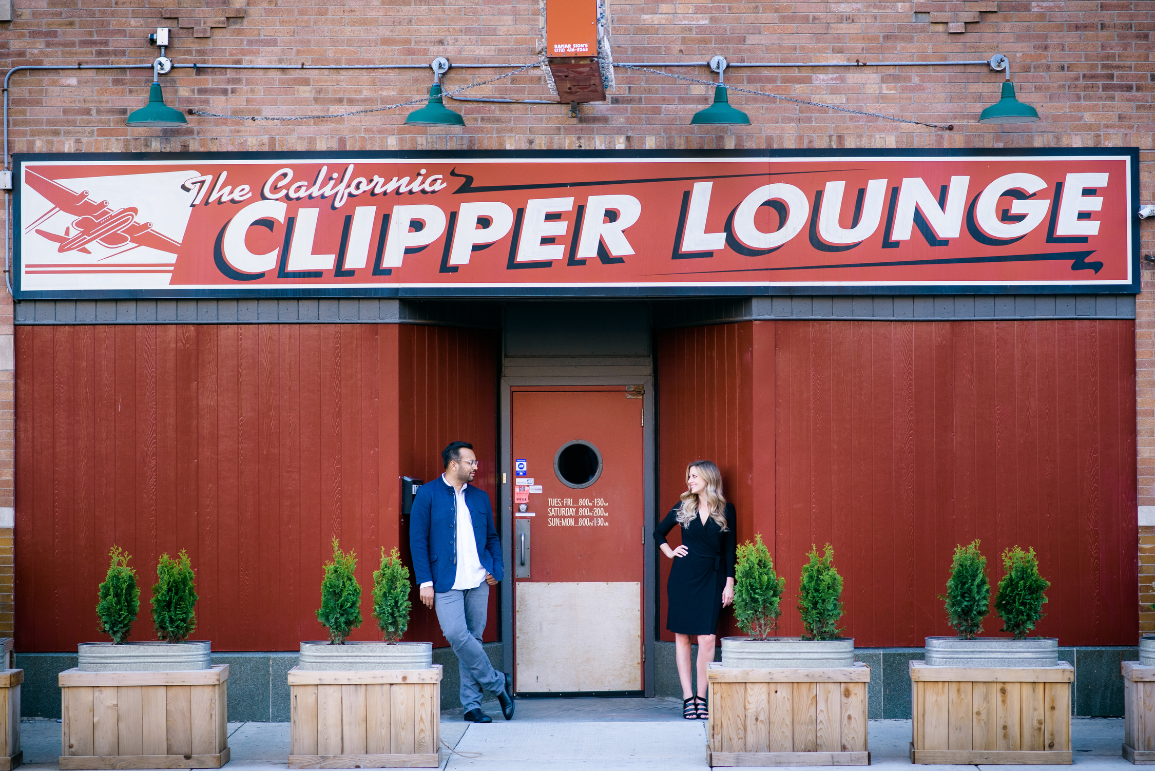 Humboldt Park Chicago engagement session at the California Clipper Lounge.