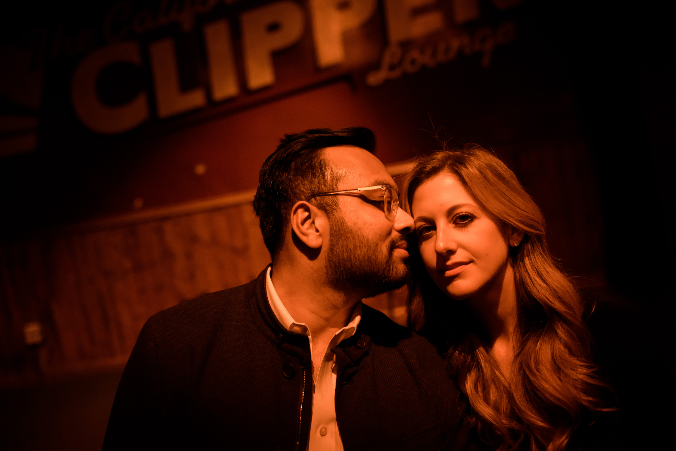 Engagement session at the California Clipper Lounge in Humboldt Park Chicago.