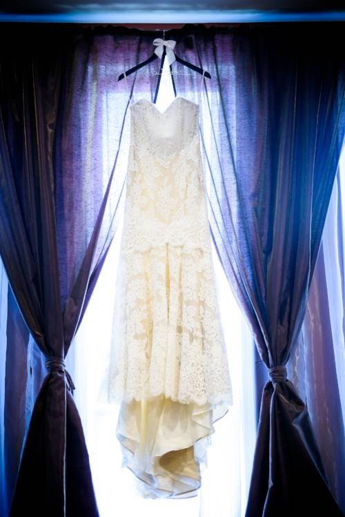 Wedding dress detail during a Quadrangle Club of Chicago wedding.