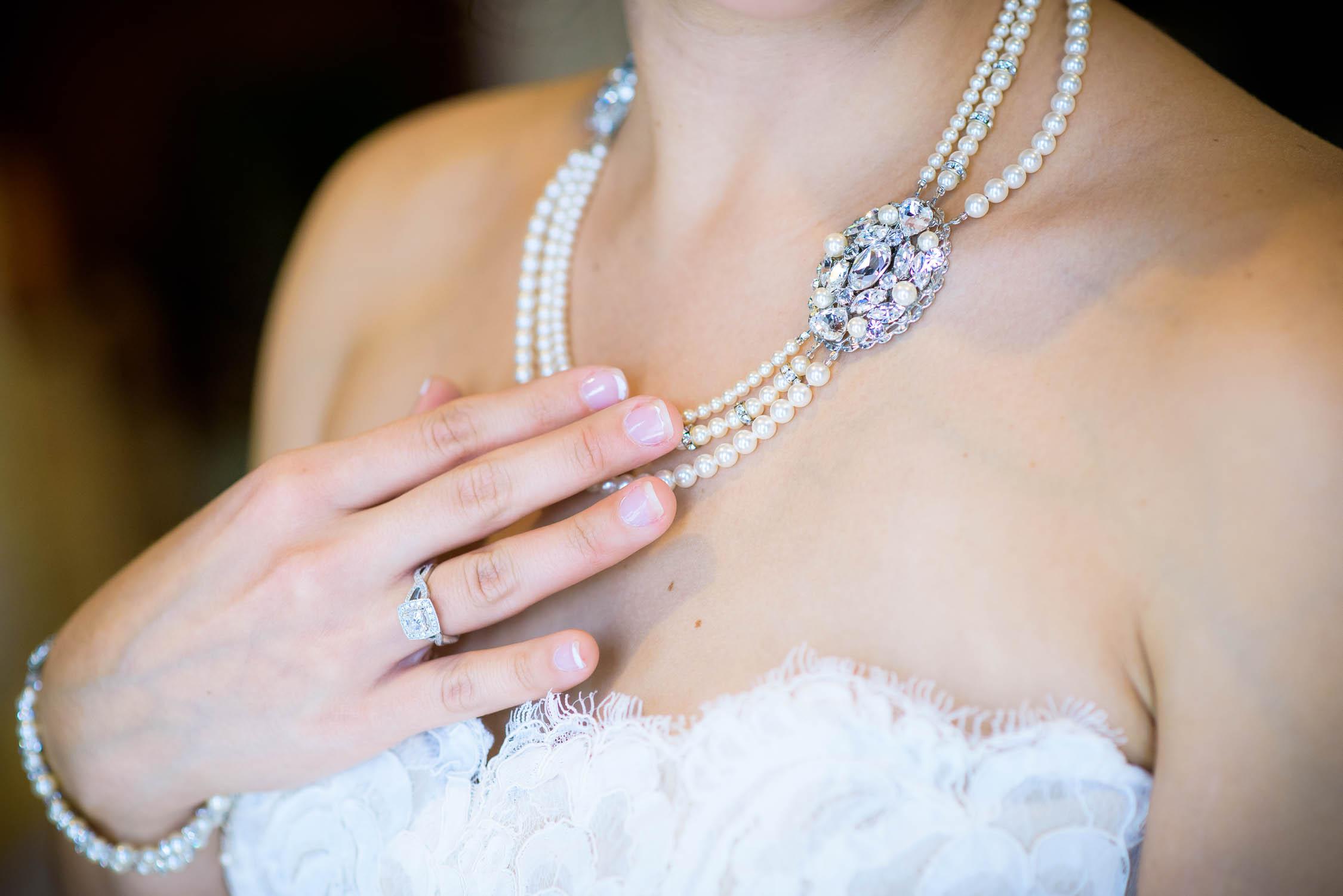 Wedding jewelry detail photo.