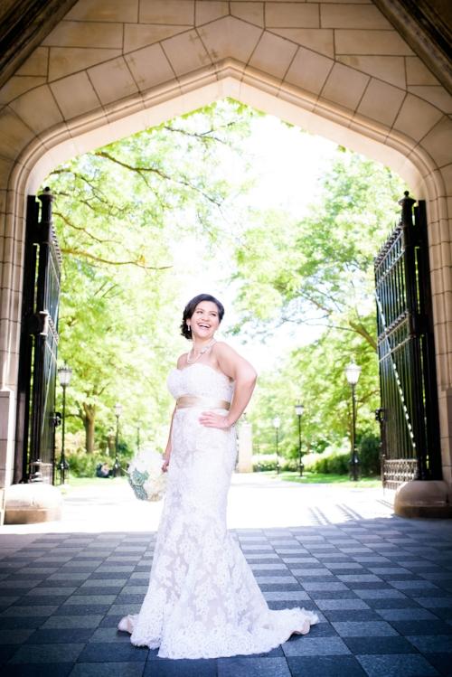 Bridal wedding photo at the University of Chicago.