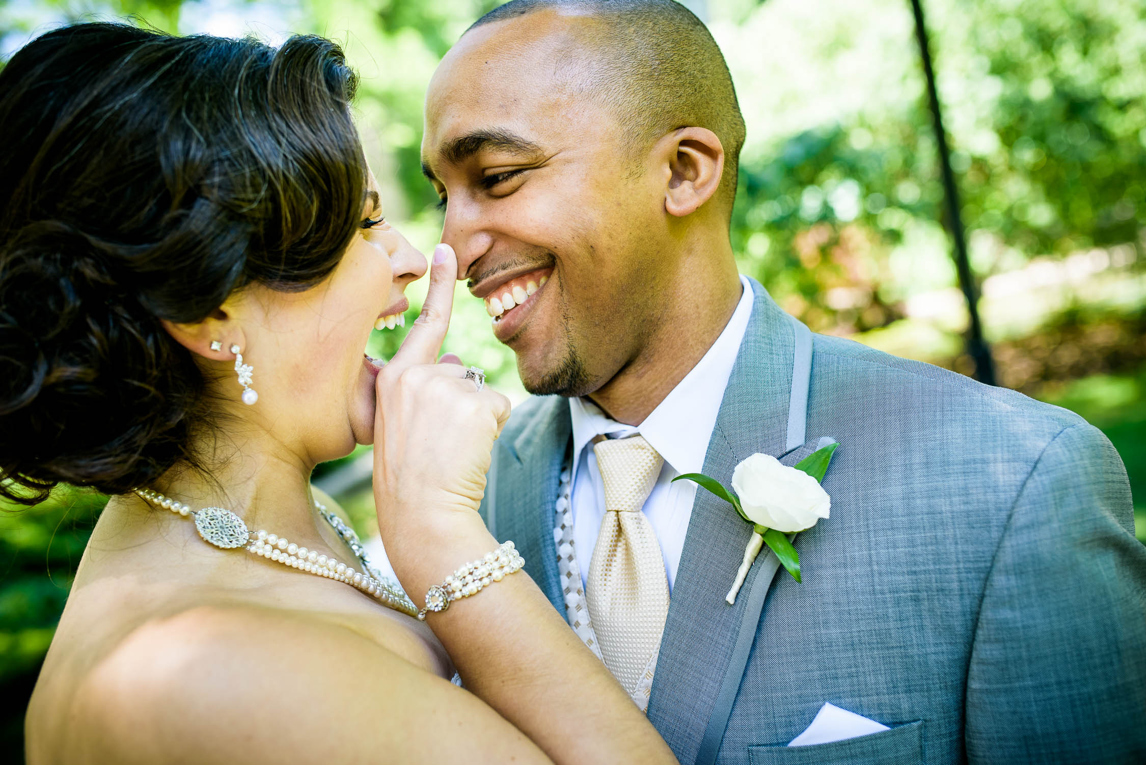 Fun first look moment between the bride and groom during their University of Chicago wedding.