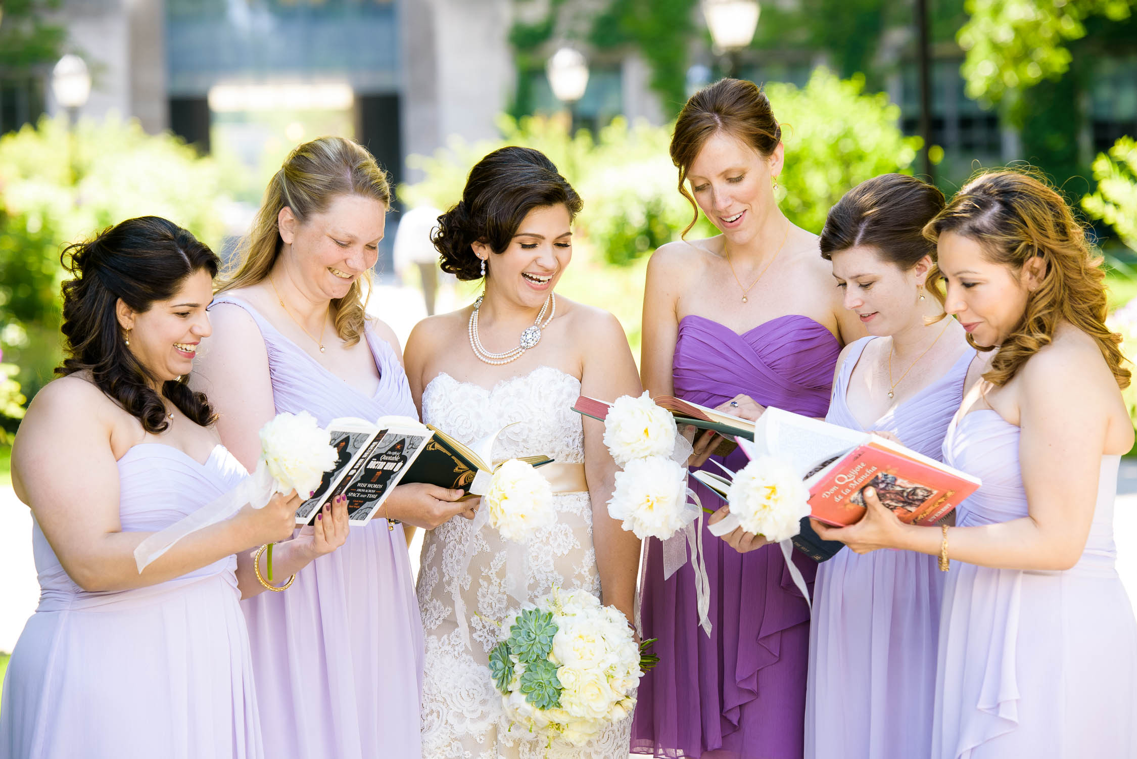 Bridesmaid with their books during a University of Chicago wedding.