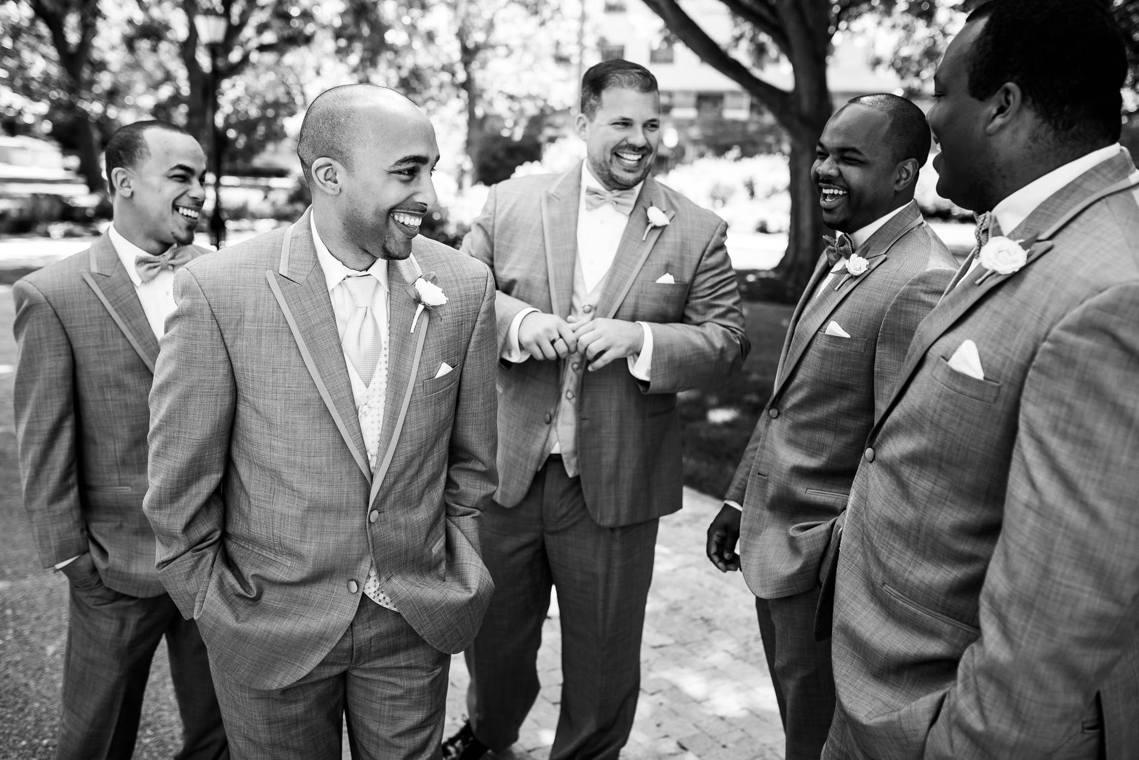 Groomsmen hanging out during a University of Chicago wedding.
