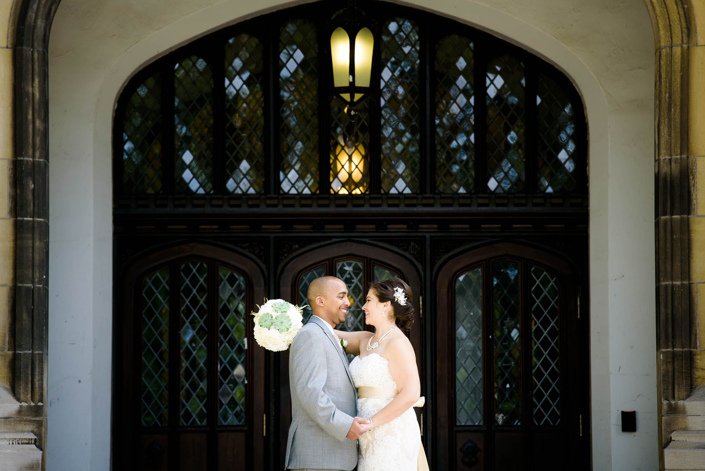 Wedding day portrait near the quad of the University of Chicago.