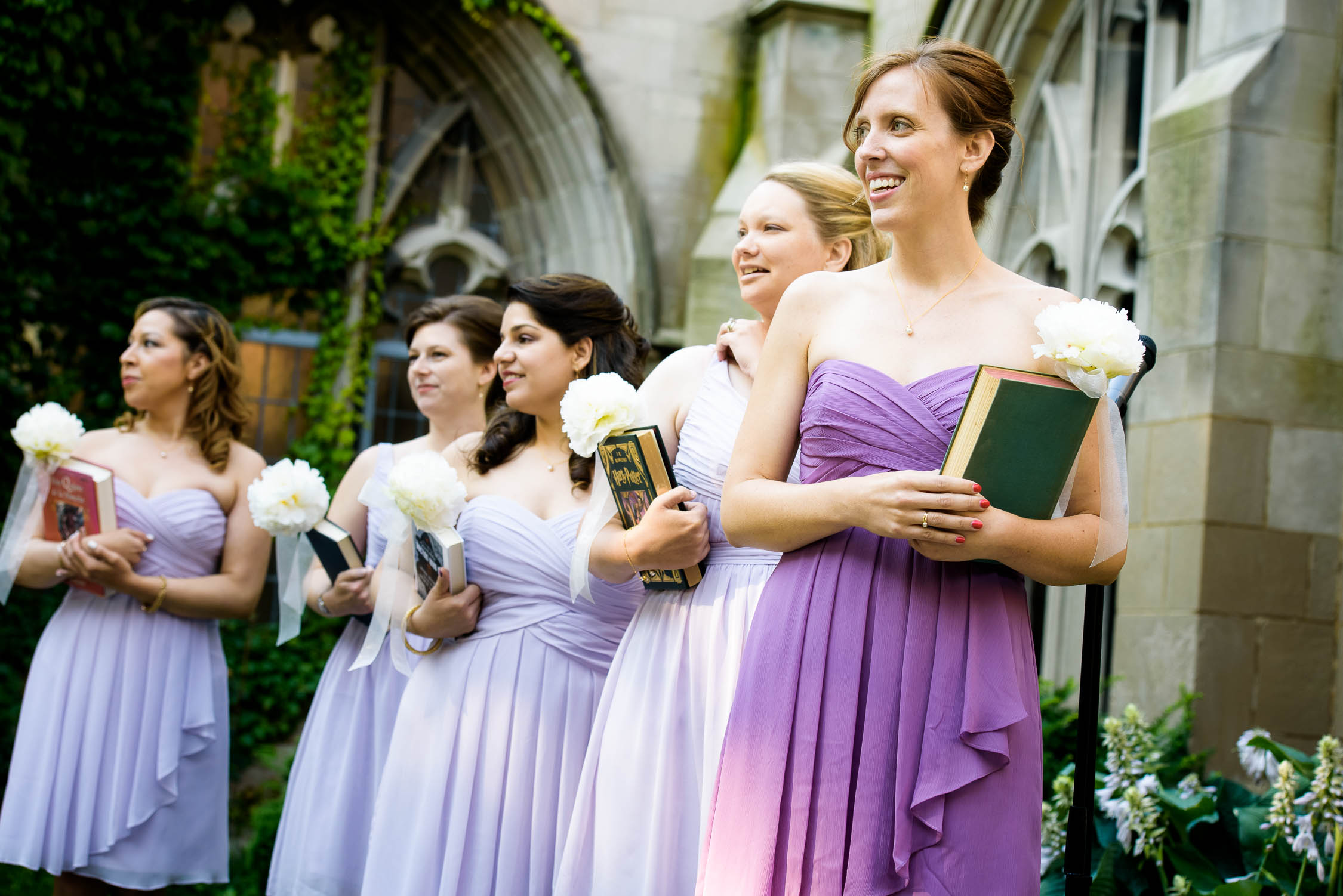 Bridesmaid wait for the bride during a University of Chicago wedding ceremony.