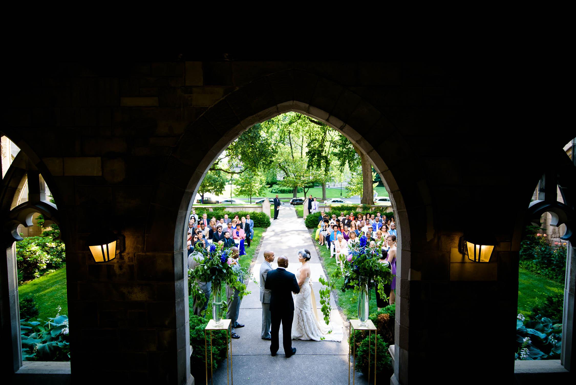 Wedding ceremony held outside Ida Noyes Hall at the University of Chicago.