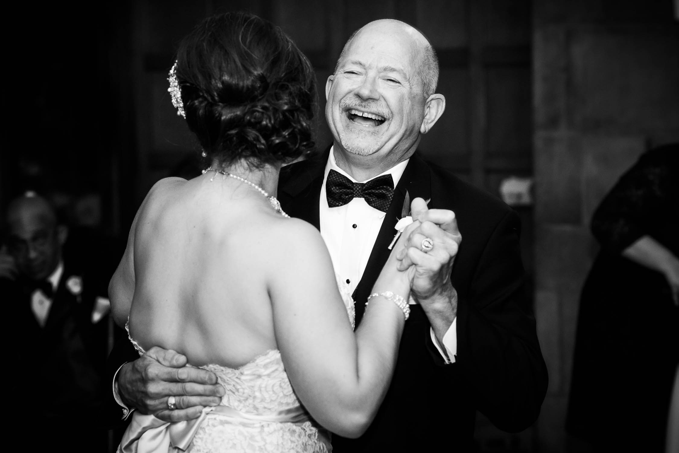 Father and daughter dance during a wedding at the Quadrangle Club of Chicago.