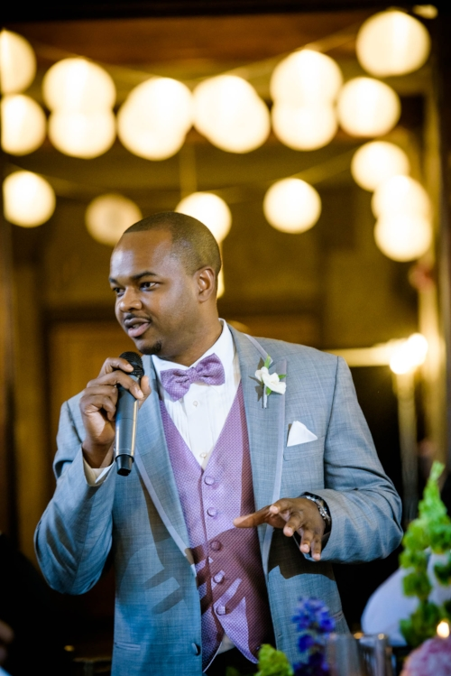 Best man speech during a wedding at the Quadrangle Club of Chicago.