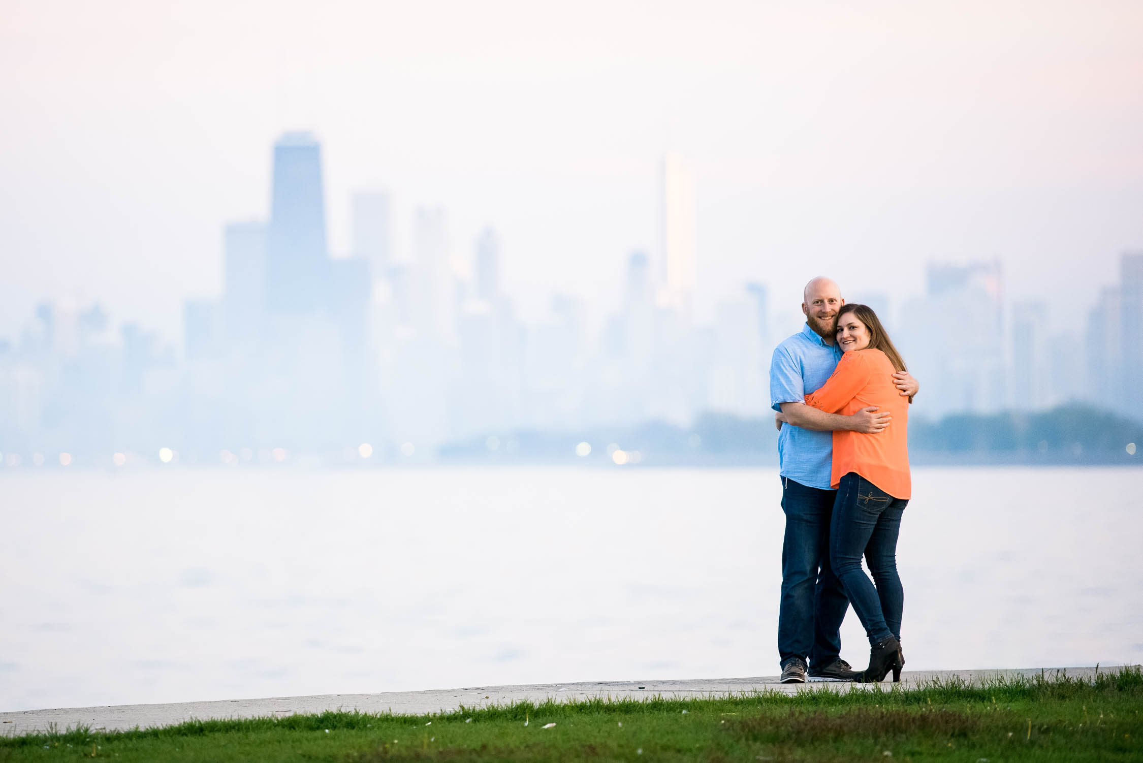 Montrose Harbor engagement session with the Chicago skyline.
