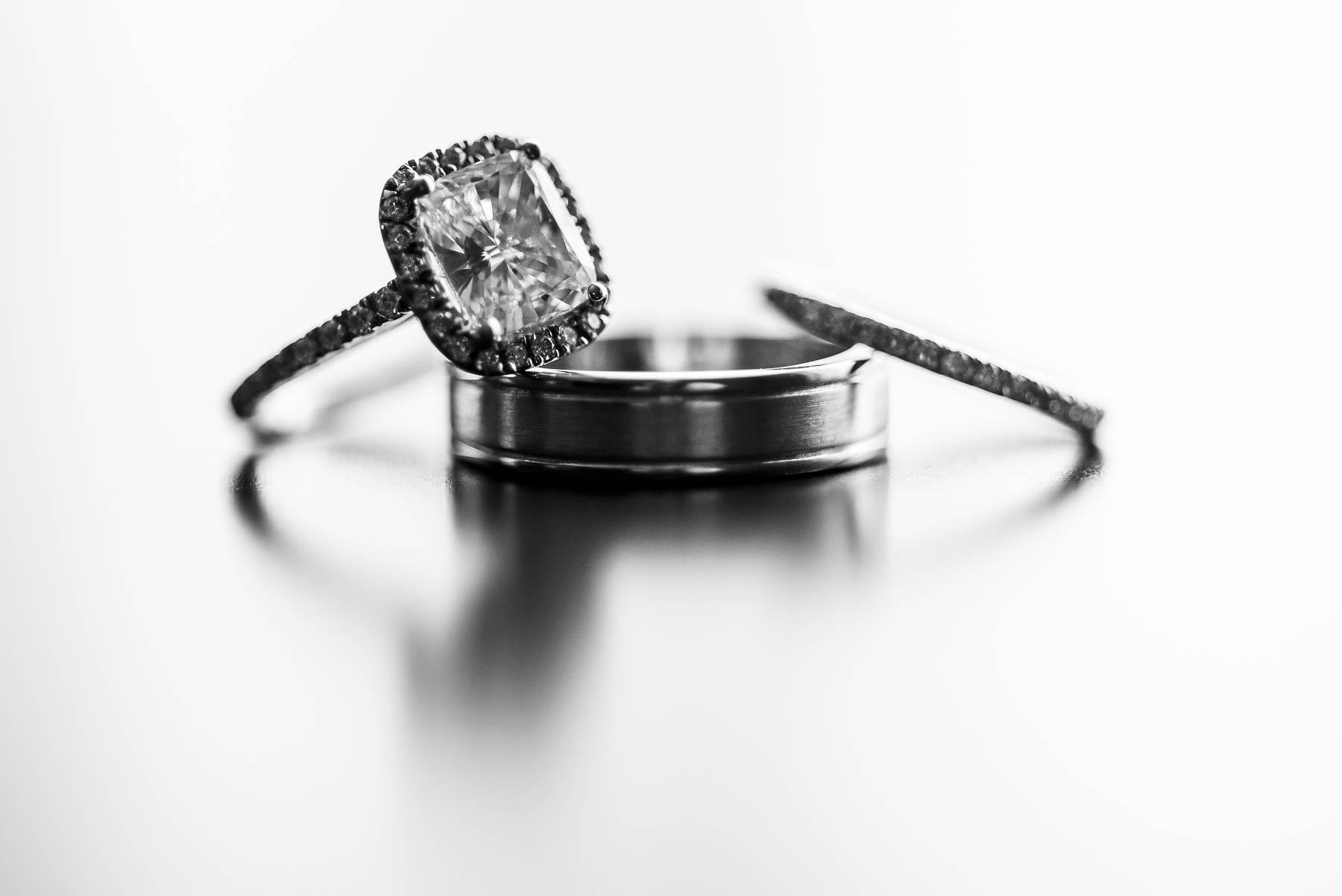 Wedding ring detail close up photo.