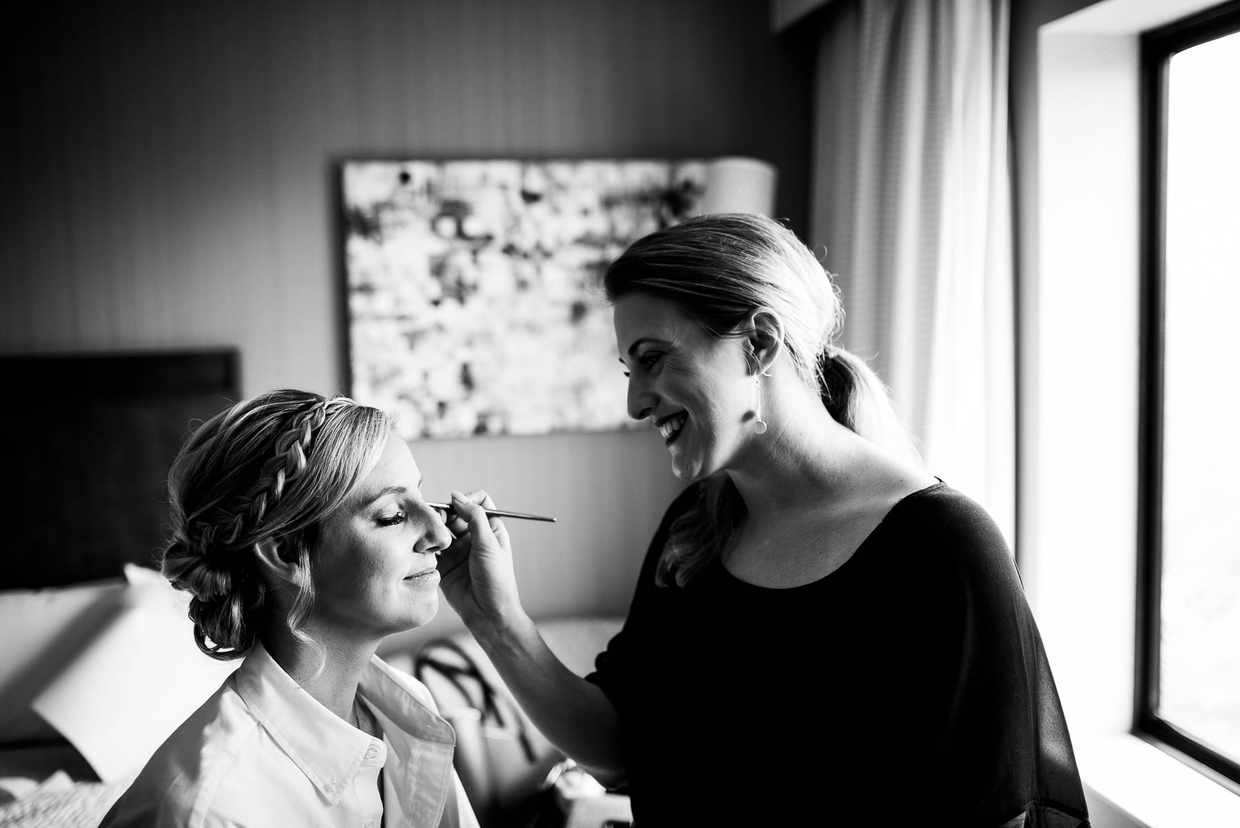 Bride getting ready before her St. Charles Country Club wedding.