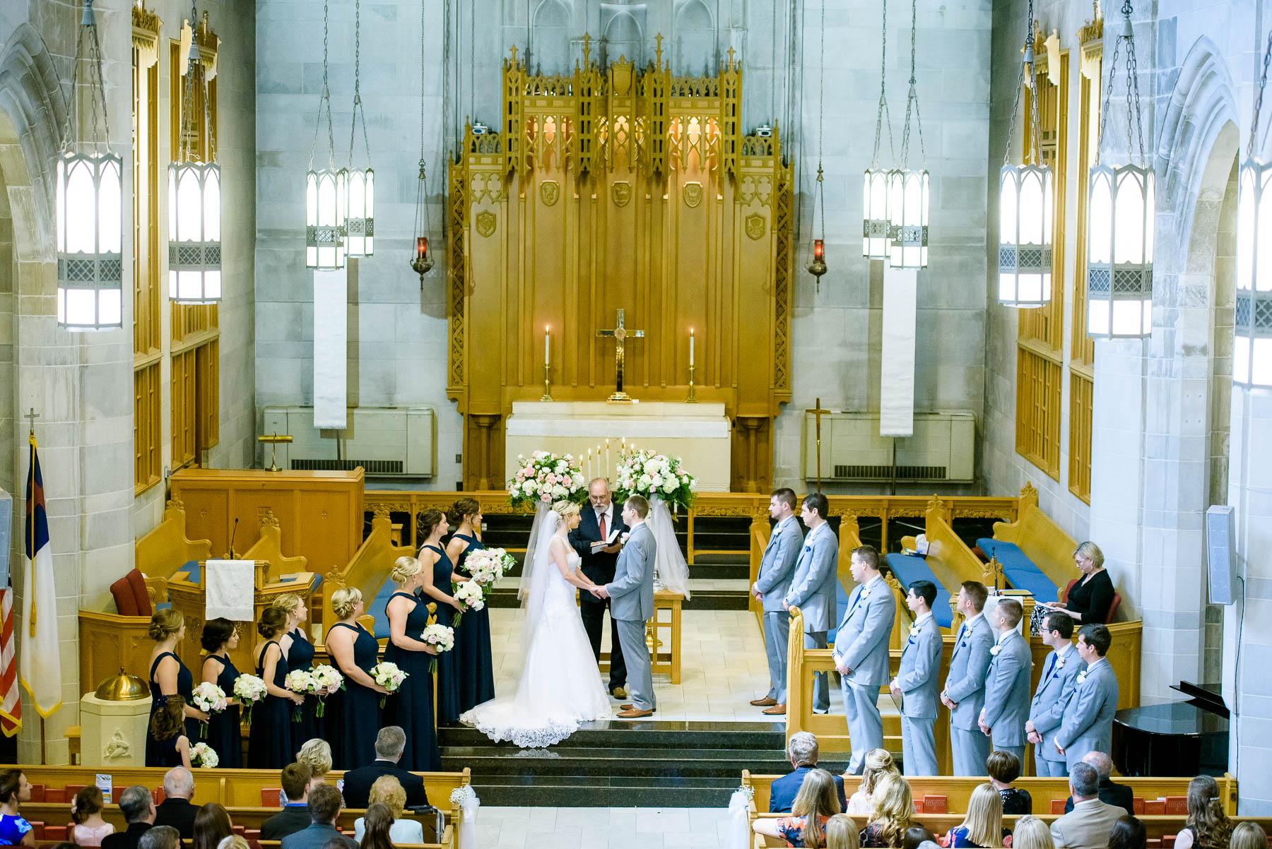 Wedding ceremony at Baker Memorial United Methodist Church in St. Charles