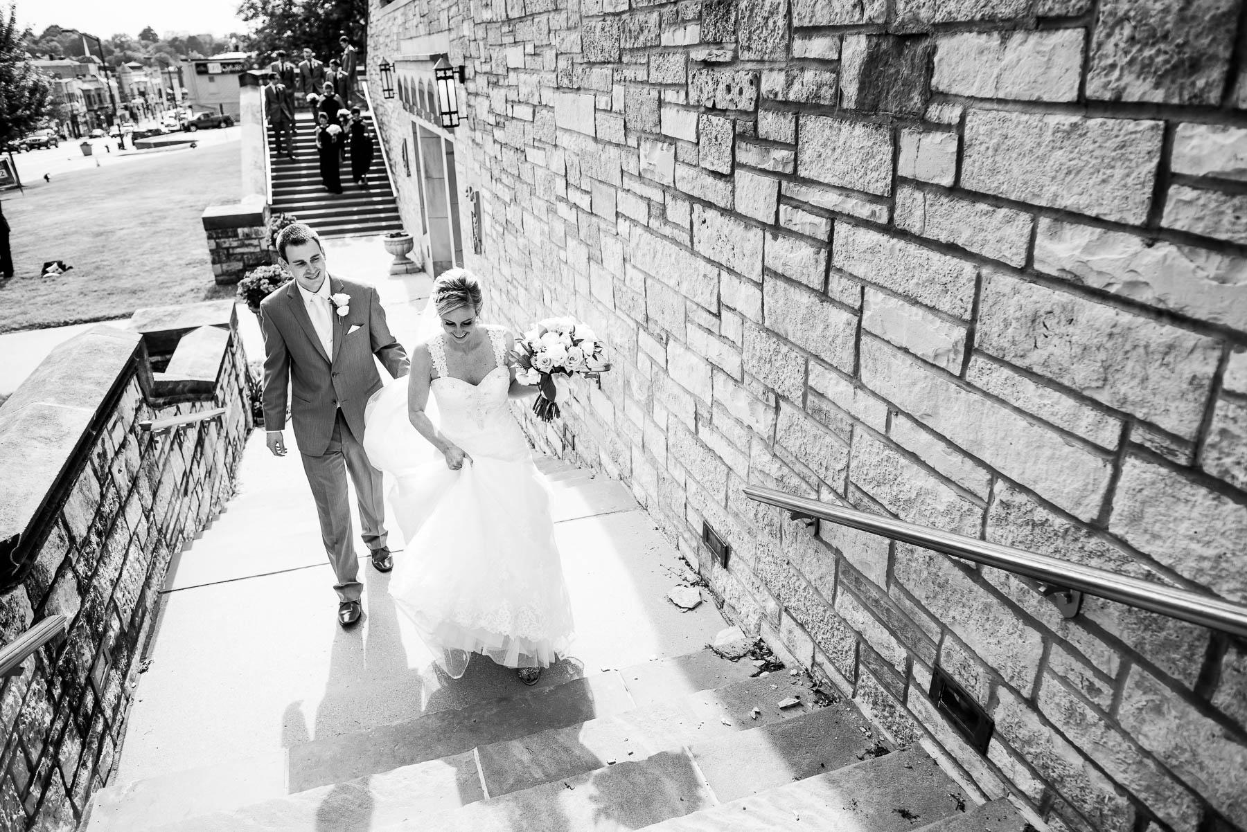 Bride and groom at Baker Memorial United Methodist Church in St. Charles