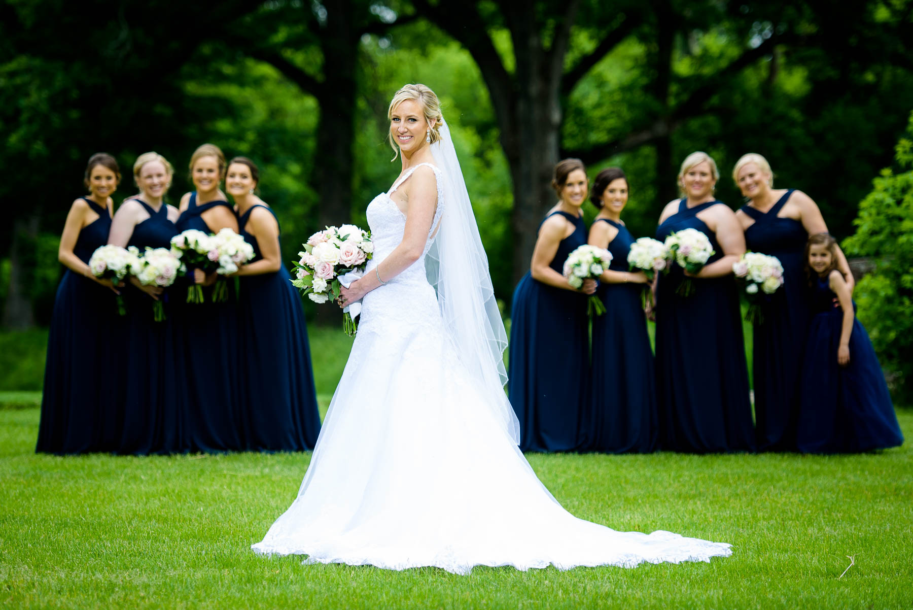 Bride and bridesmaids at the St. Charles Country Club.