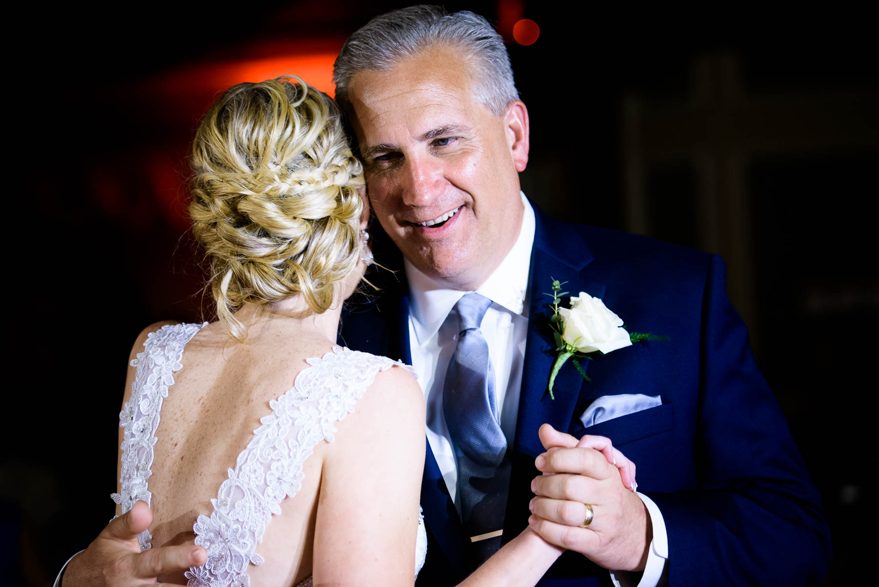 Father daughter dance during a wedding reception at the St. Charles Country Club.