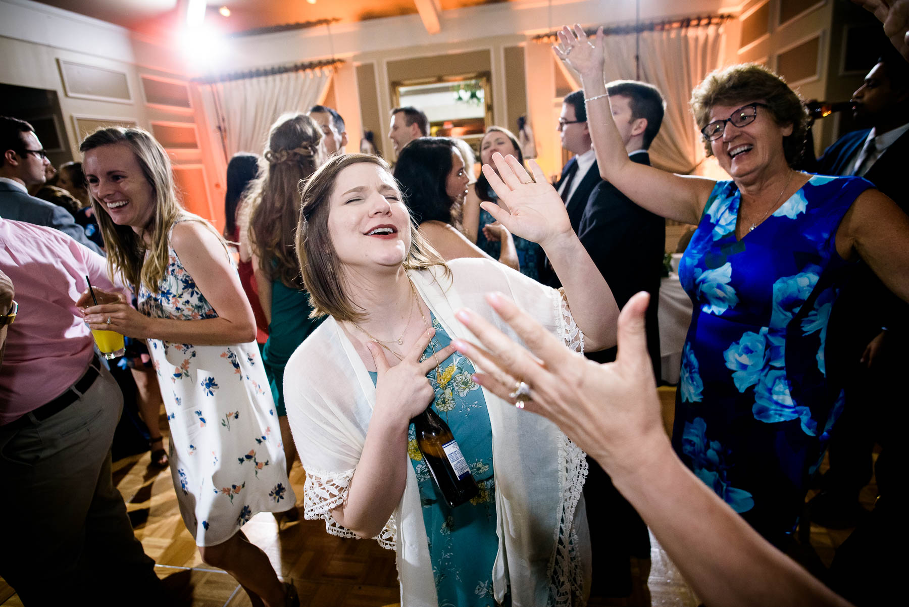 Dancing during a St. Charles Country Club wedding.