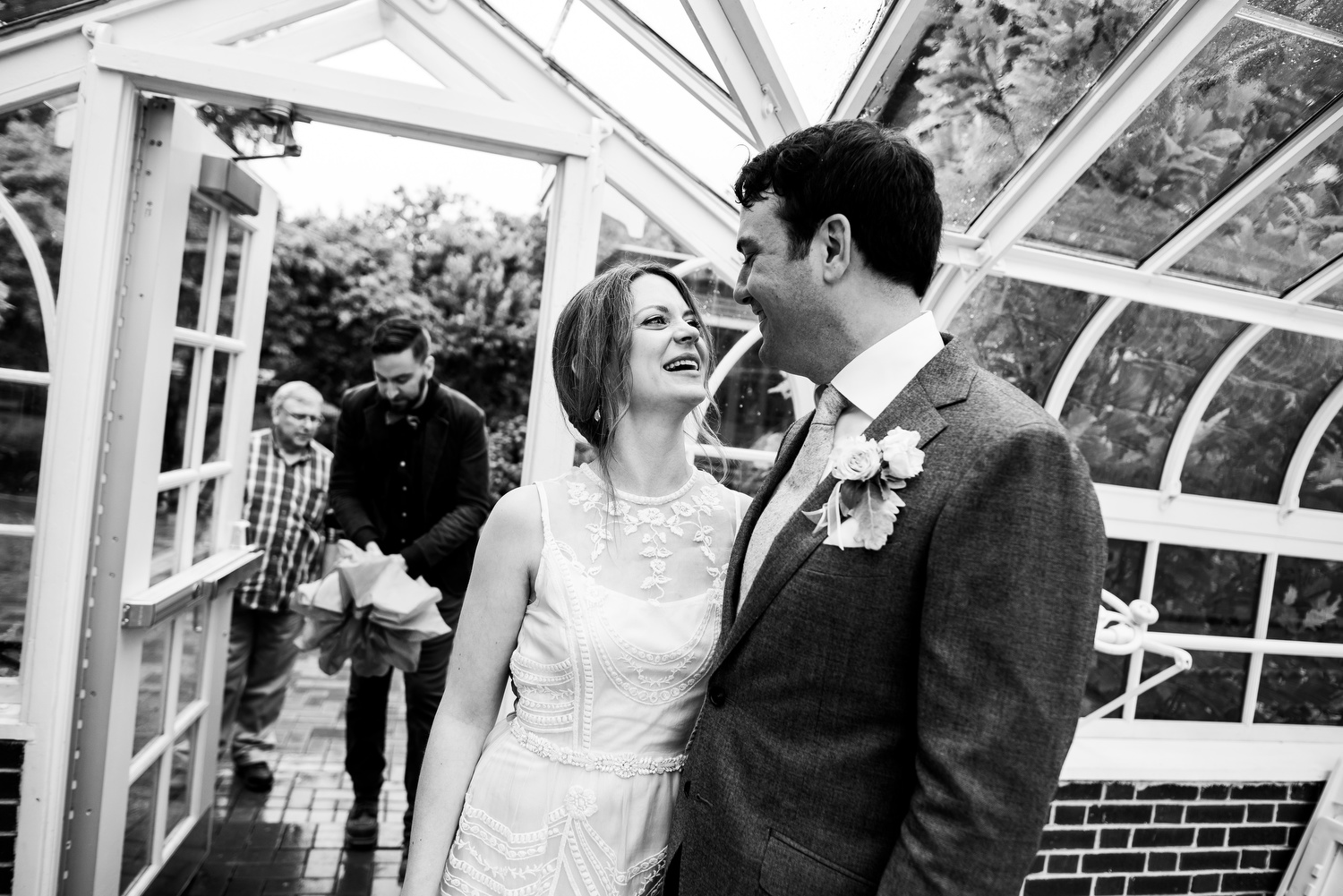 Bride and groom after their ceremony during a Cheney Mansion wedding in Oak Park.