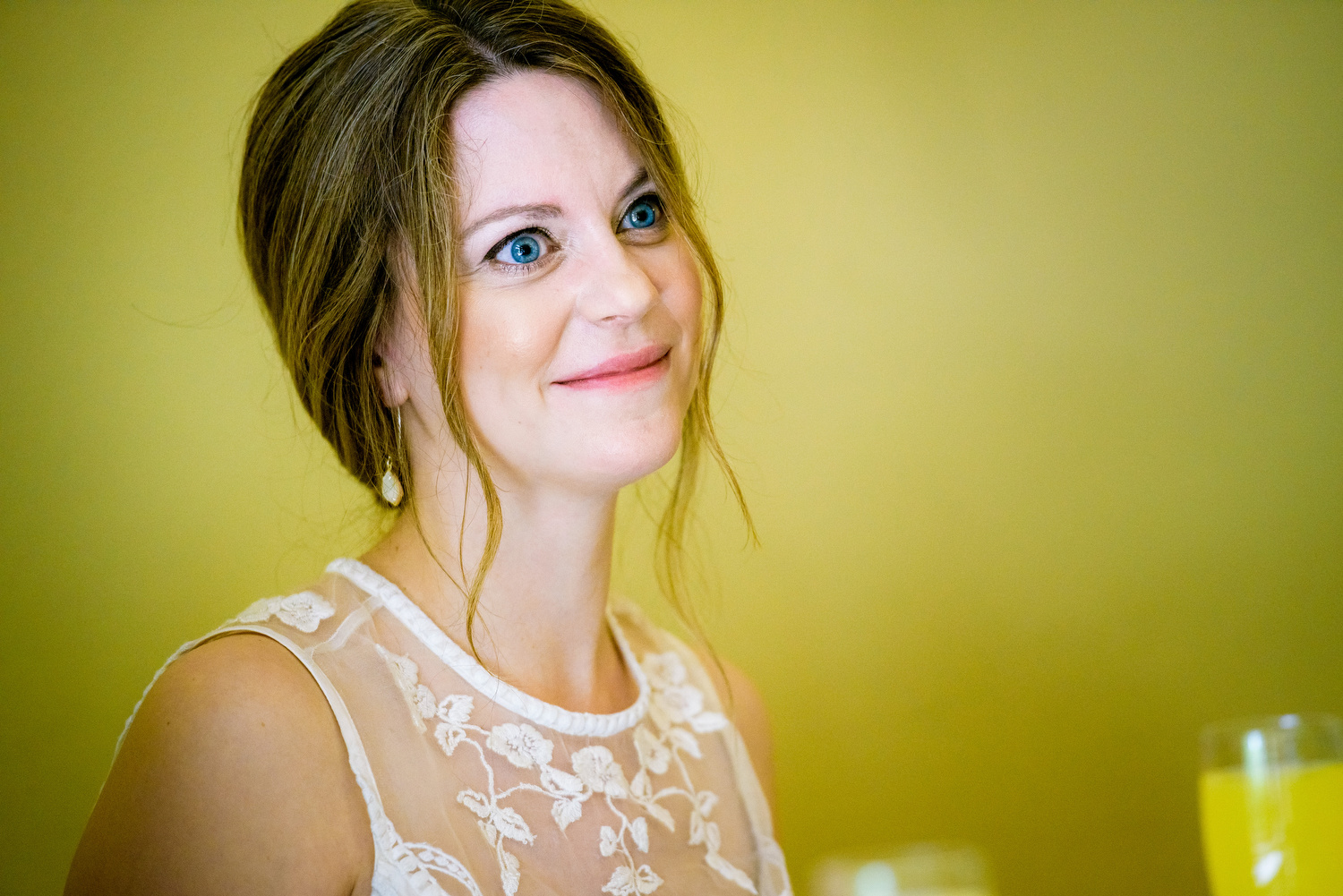 Bride listens to her father's toast during a Cheney Mansion wedding in Oak Park.