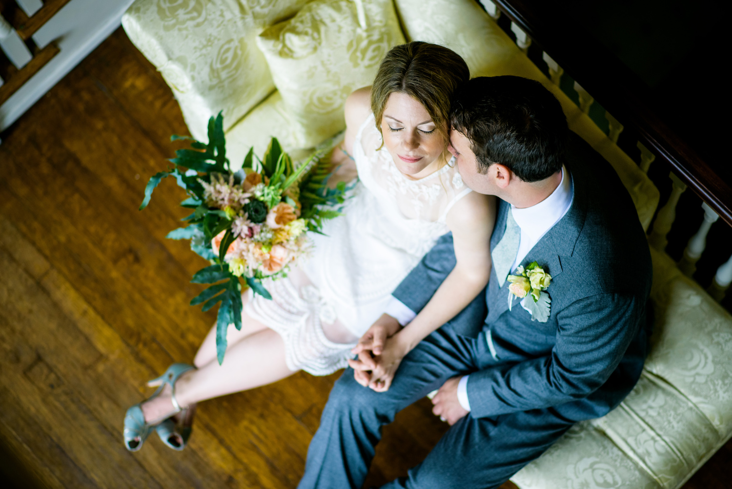 Intimate portrait of the bride and groom during a Cheney Mansion wedding in Oak Park.