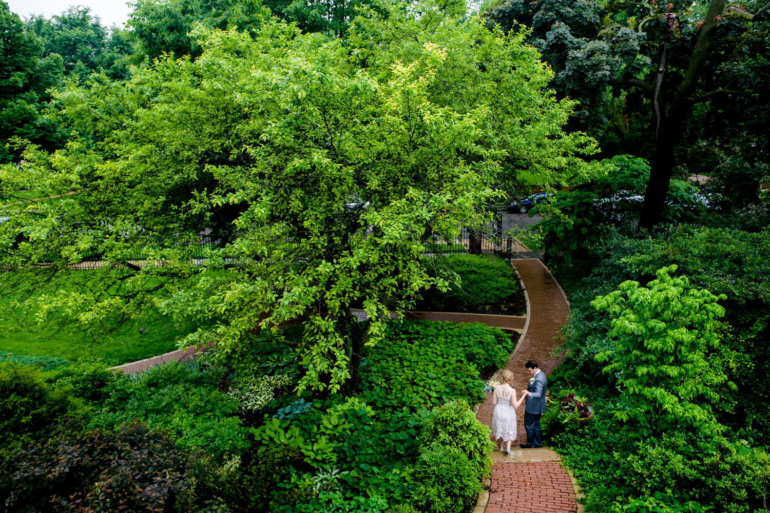 Outdoor photo of the couple during a Cheney Mansion wedding in Oak Park.