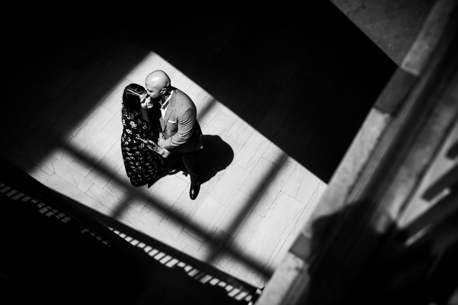 Art Institute of Chicago engagement photo on the Women's Board Staircase.