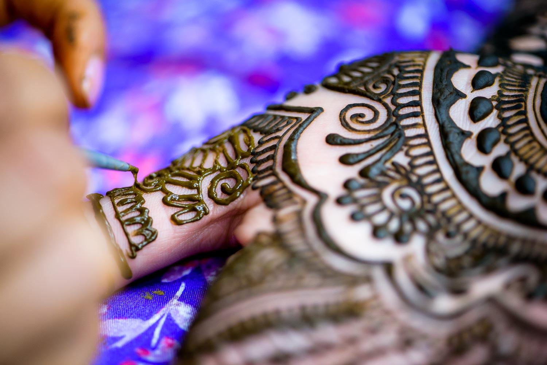 Henna photo during an Indian wedding mehndi in South Barrington, Illinois.