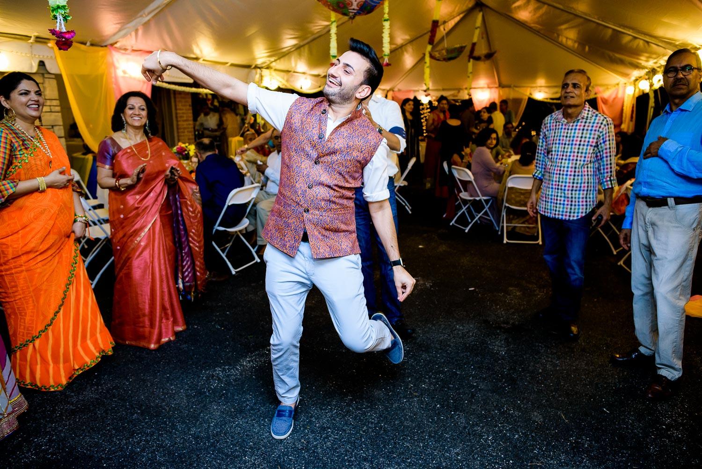 Dancing during an Indian wedding mehndi in South Barrington, Illinois.