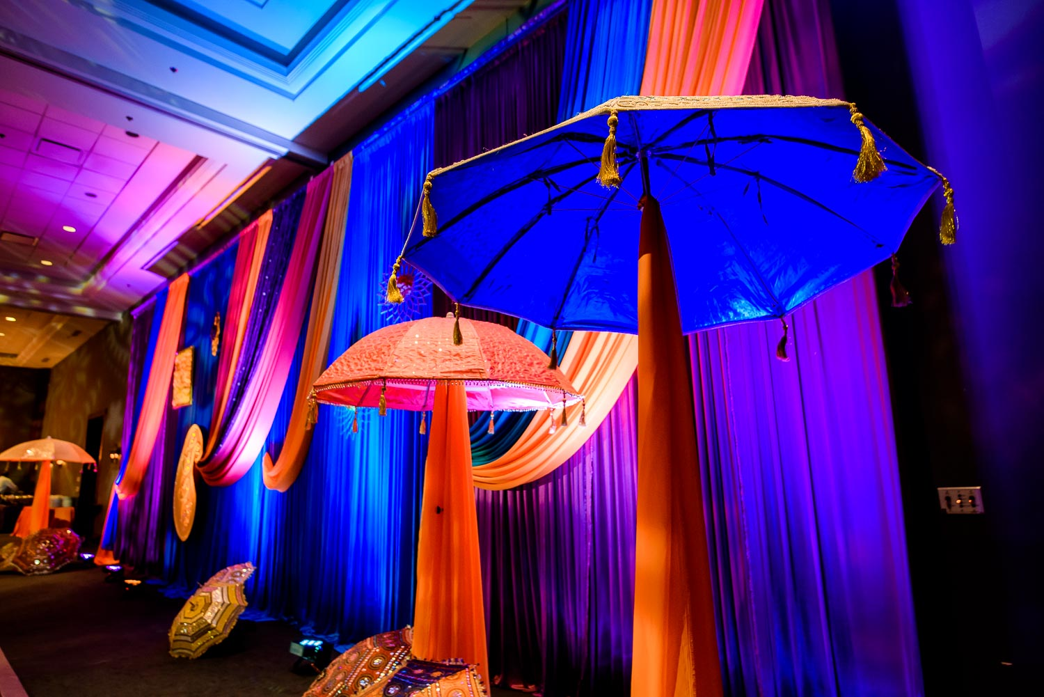 Decor at an Indian wedding sangeet at Stonegate Banquets in Hoffman Estates.