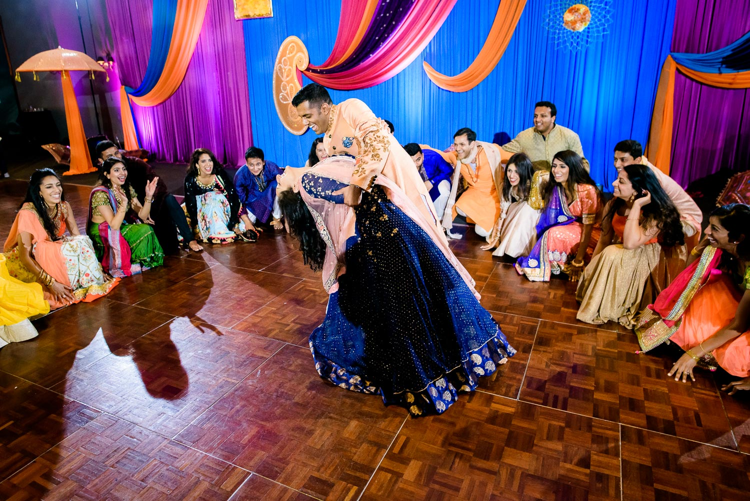Wedding party dances during an Indian wedding sangeet at Stonegate Banquets in Hoffman Estates.