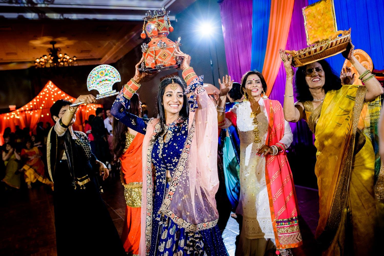 Chari dance during Indian wedding sangeet at Stonegate Banquets in Hoffman Estates.