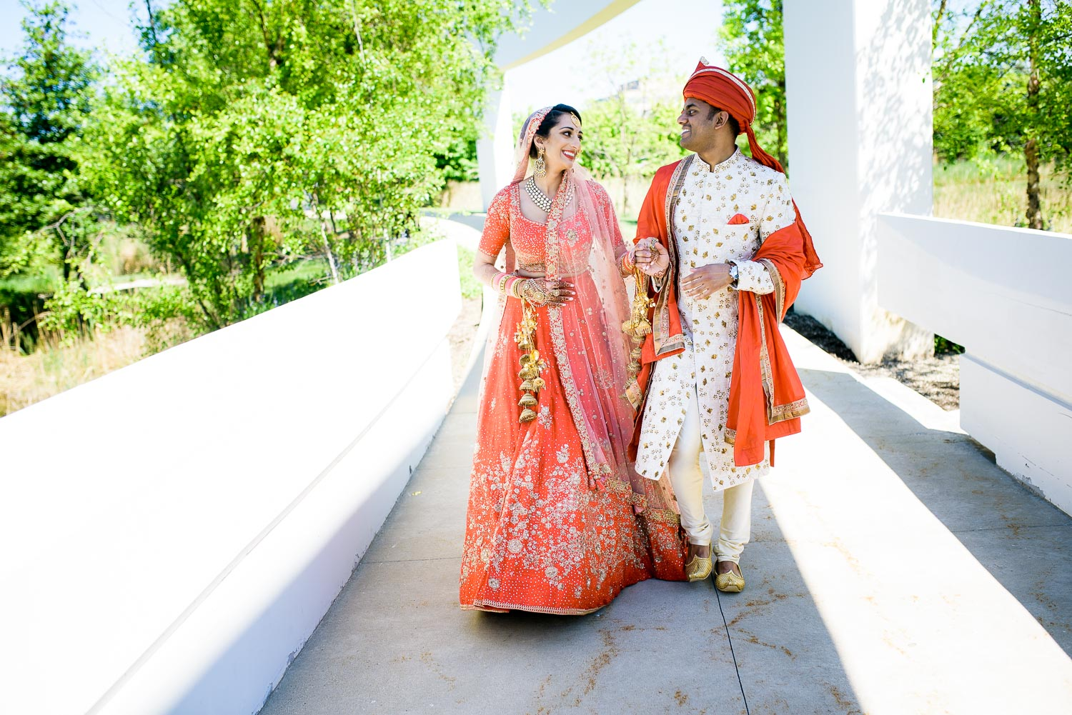 Bride and groom during their schaumburg renaissance indian wedding.