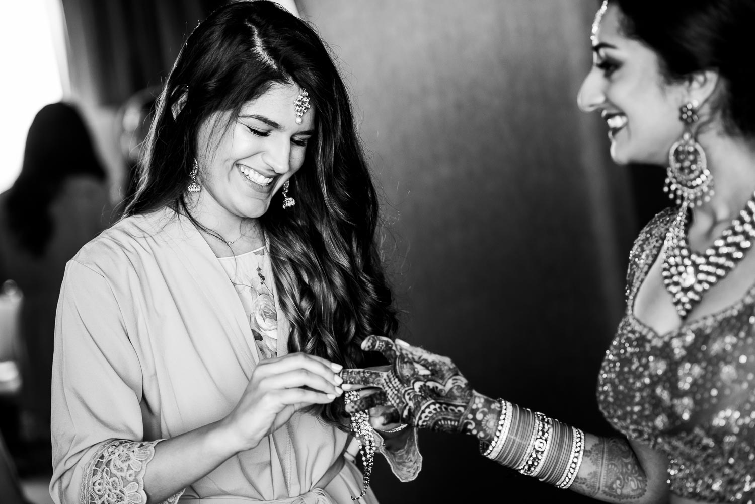 Bridal party getting ready during a Renaissance Schaumburg Convention Center Indian wedding.
