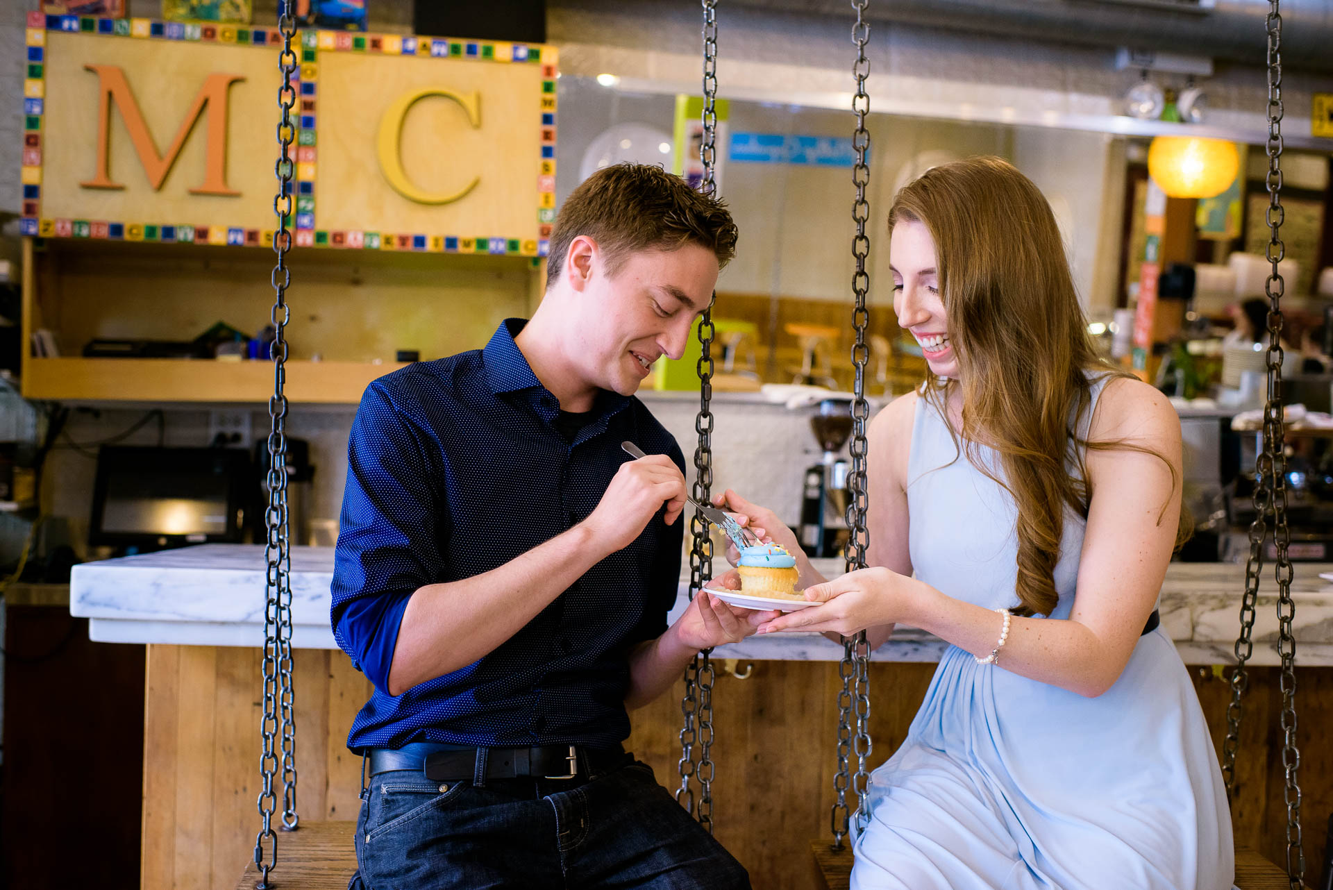 Chicago engagement session at Molly's Cupcakes in Lincoln Park.