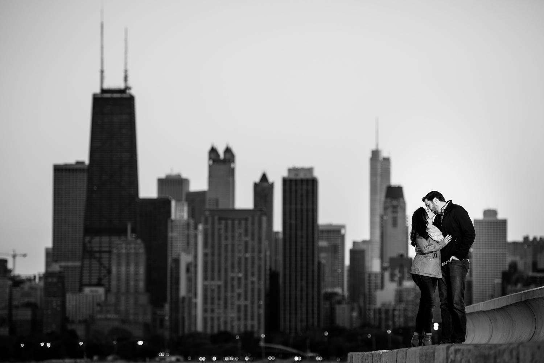 Chicago skyline engagement photo at sunset.