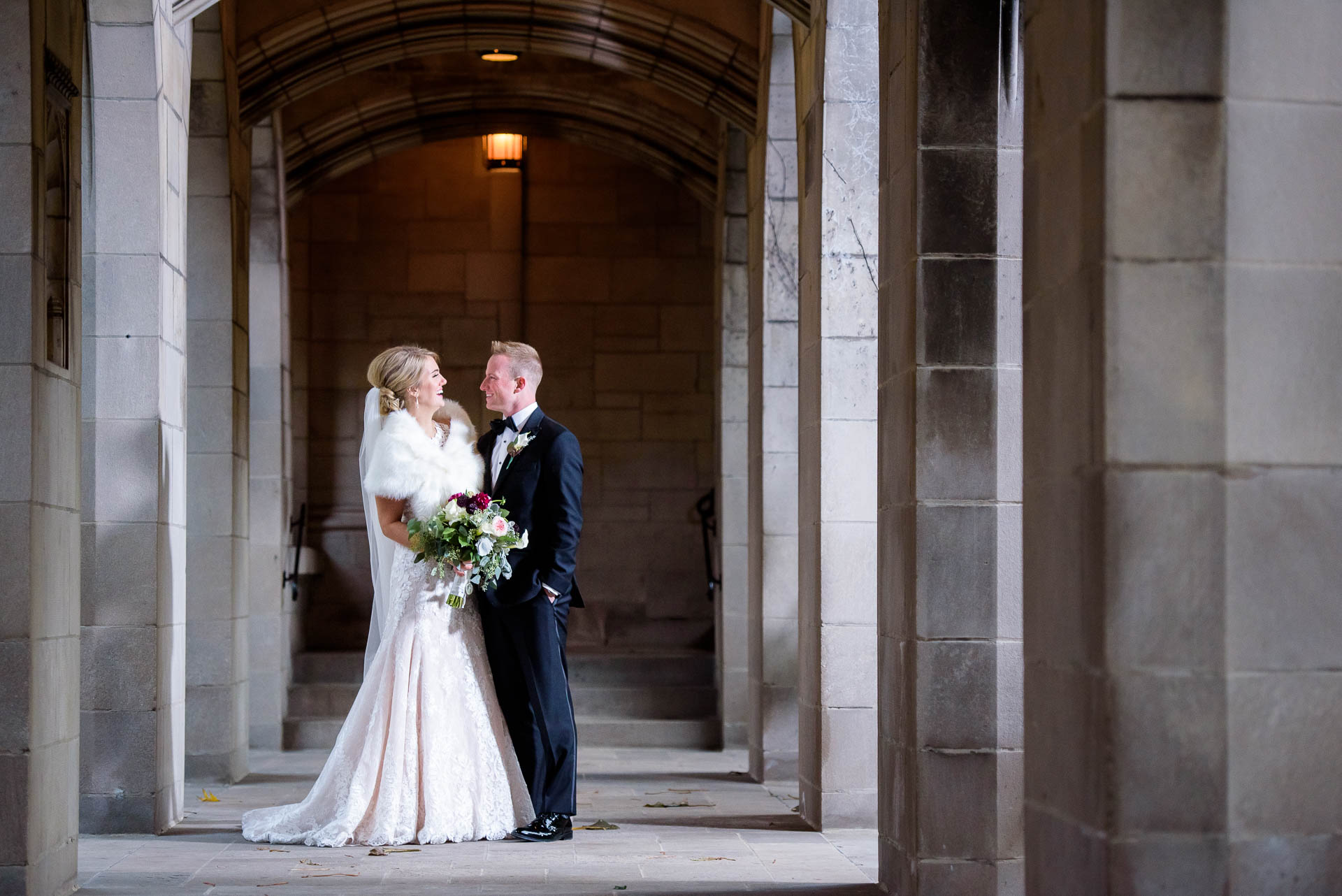 Bride and groom portrait at Fourth Presbyterian Church in Chicago.